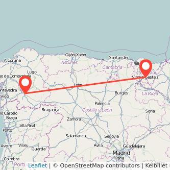 Mapa del viaje Ourense Vitoria-Gasteiz en bus