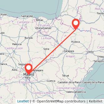 Mapa del viaje Madrid Formigal en bus