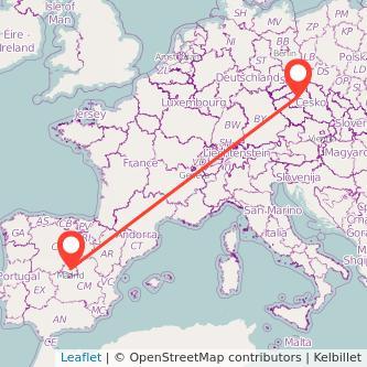 Madrid Prague train map