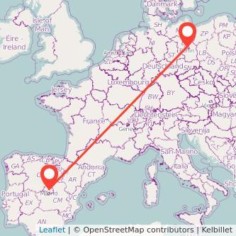 Mapa del viaje Madrid Berlín en tren