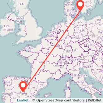 Madrid Copenhagen train map