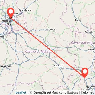 Mapa del viaje Madrid Villena en tren