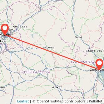 Mapa del viaje Madrid Valencia en bus