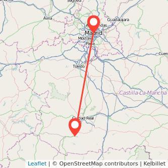 Mapa del viaje Madrid Puertollano en bus