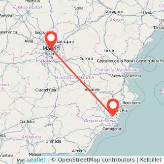 Mapa del viaje Madrid Orihuela en bus