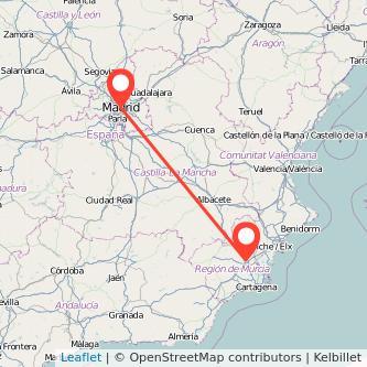 Mapa del viaje Madrid Molina de Segura en bus
