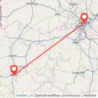 Mapa del viaje Madrid Mérida en bus