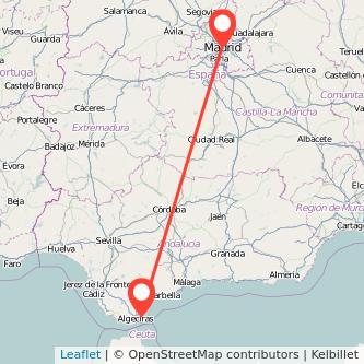 Mapa del viaje Madrid La Línea de la Concepción en bus