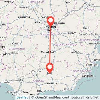 Mapa del viaje Madrid Jaén en tren