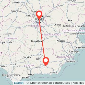 Mapa del viaje Madrid Guadix en bus