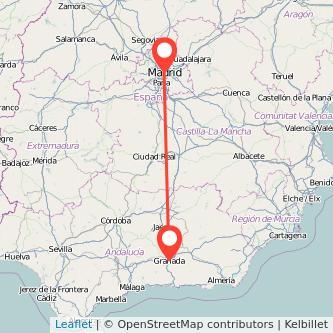 Mapa del viaje Madrid Granada en bus