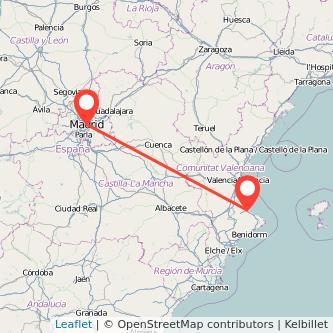 Mapa del viaje Madrid Gandia en bus