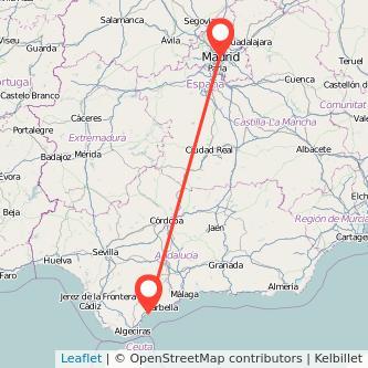Mapa del viaje Madrid Estepona en bus