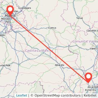 Mapa del viaje Madrid Elda en bus