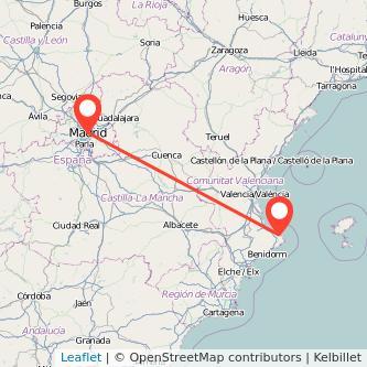 Mapa del viaje Madrid Denia en bus