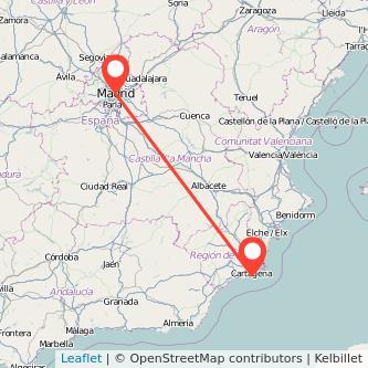 Mapa del viaje Madrid Cartagena en bus