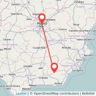 Mapa del viaje Madrid Baza en bus