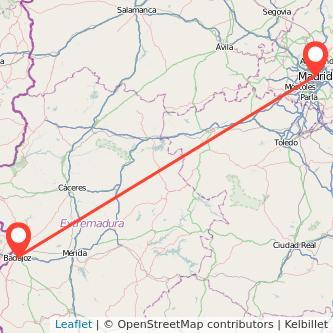 Mapa del viaje Madrid Badajoz en bus