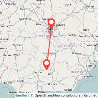 Mapa del viaje Madrid Andújar en bus