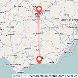 Mapa del viaje Madrid Almuñécar en bus