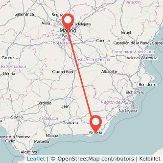 Mapa del viaje Madrid Almería en bus