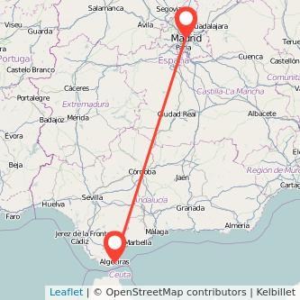 Mapa del viaje Madrid Algeciras en bus