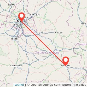 Mapa del viaje Madrid Albacete en tren
