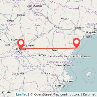 Mapa del viaje Madrid Vinaròs en bus