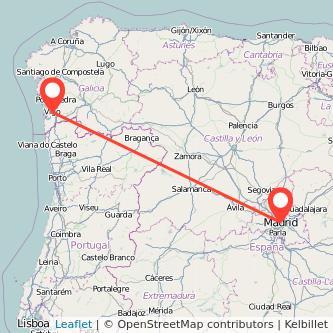 Mapa del viaje Madrid Vigo en bus