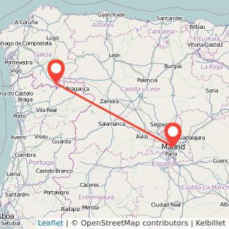 Mapa del viaje Madrid Verín en bus