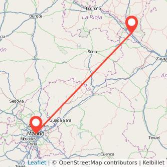 Mapa del viaje Madrid Tudela en bus