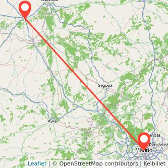 Mapa del viaje Madrid Tordesillas en bus