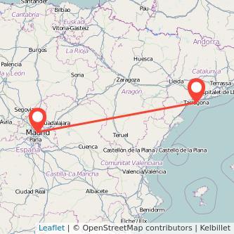 Mapa del viaje Madrid Tarragona en tren