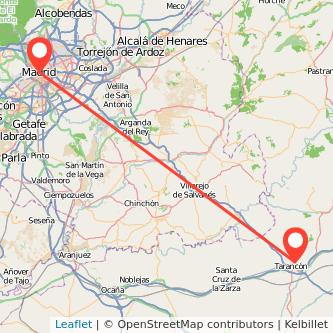 Mapa del viaje Madrid Tarancón en bus