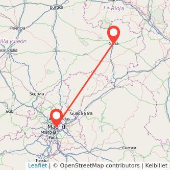 Mapa del viaje Madrid Soria en bus
