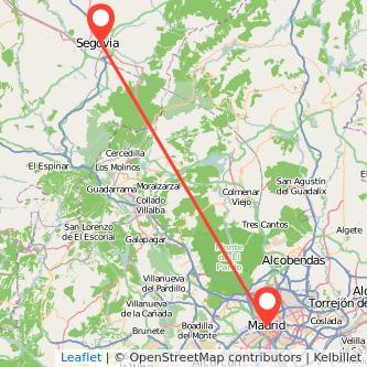 Mapa del viaje Madrid Segovia en bus