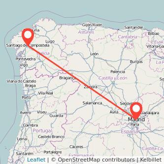 Mapa del viaje Madrid Santiago de Compostela en bus