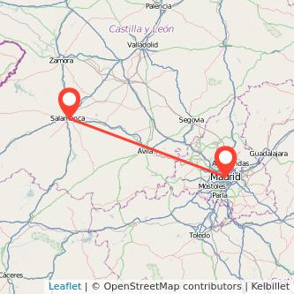 Mapa del viaje Madrid Salamanca en tren