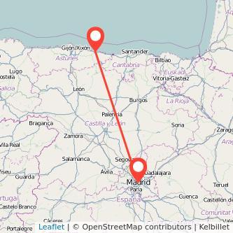 Mapa del viaje Madrid Ribadesella en bus