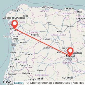 Mapa del viaje Madrid Ponteareas en bus