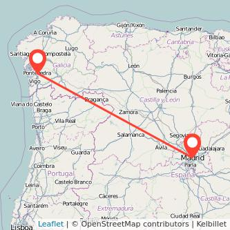 Mapa del viaje Madrid Pontevedra en tren