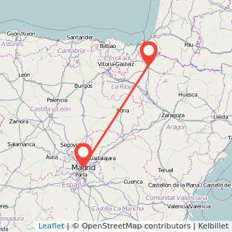 Mapa del viaje Madrid Pamplona en tren