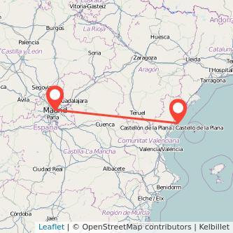 Mapa del viaje Madrid Orpesa/Oropesa del Mar en tren