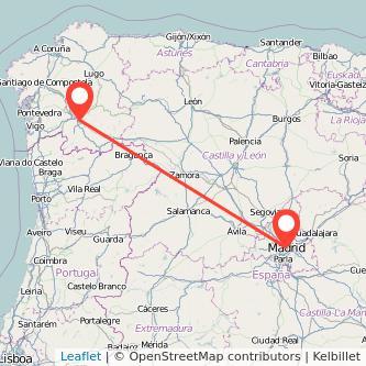 Mapa del viaje Madrid Ourense en bus