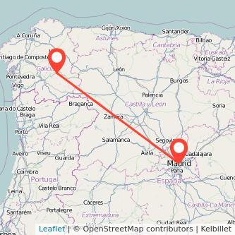 Mapa del viaje Madrid Monforte de Lemos en bus