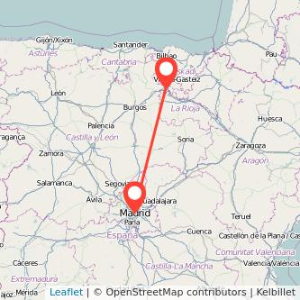 Mapa del viaje Madrid Miranda de Ebro en tren