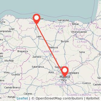 Mapa del viaje Madrid Mieres en tren
