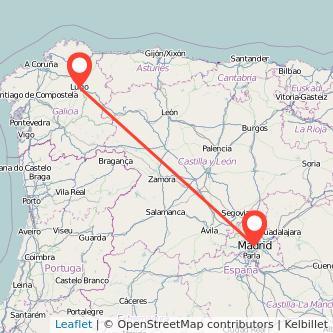 Mapa del viaje Madrid Lugo en tren