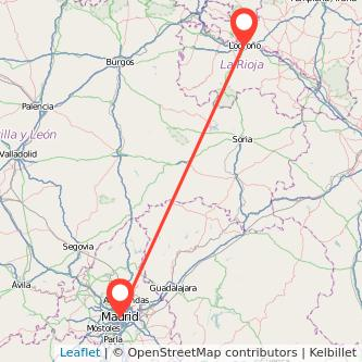 Mapa del viaje Madrid Logroño en tren