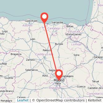 Mapa del viaje Madrid Llanes en bus